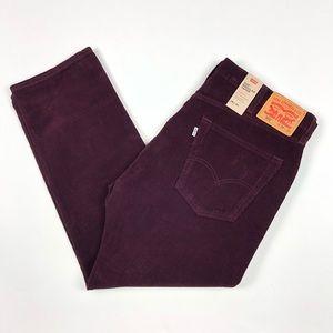 Levis 502 Burgundy Tapered Corduroy Pants 38x30